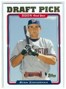 Ryan Zimmerman baseball card (Washington Nationals) 2005 Topps #UH323 Rookie Draft Pick 2005 Topps Autographed Baseball Card