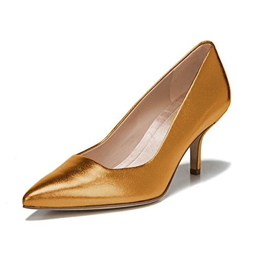 Slip Office Pumps Leather On Women Shoes Toe Dress Orange XYD Golden Daily Mid Heel Pointed Walking qnUPXtF