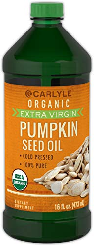 Oil Pumpkin Seed (Carlyle Pumpkin Seed Oil 16oz Organic Cold Pressed | 100% Pure, Extra Virgin | Vegetarian, Non-GMO, Gluten Free | Safe for Cooking | Great for Hair and Face)