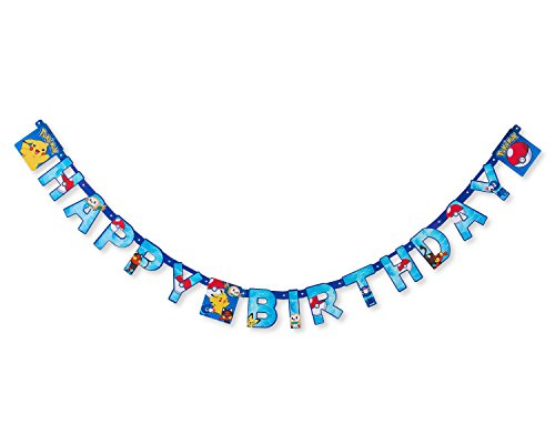 American Greetings Pokemon Party Supplies Paper Birthday Party Banner, 1-Count]()