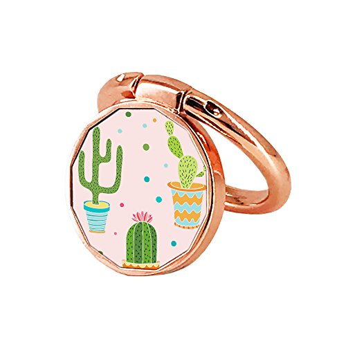 Finger Ring Stand,Oddss Cell Phone Ring Holder 360° Rotation 180°Flip Grip Mount Kickstand for iPhone X 8 7/7/6 plus/Samsung Galaxy S8/S7S9-Fit Magnetic Car Mount (Rose Gold Cactus ()