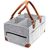 KOOLIFTS Baby Diaper Organizer Include Bonus Diaper PAD (Large) Strong PU Leather Handles, 8 Pockets, Divider, Reinforced Corners | Newborns, Infants, Toddlers | Girls and Boys