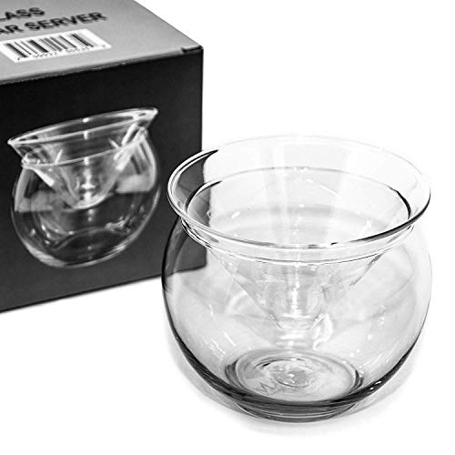 Glass Caviar Chiller Server Set - 2 pcs. x Up To 3 Serving - Universal Martini, Wine, Liquor Cocktail Chiller