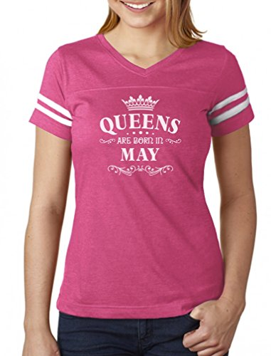 (Birthday Gift for Women - Queens are Born in May Women Football Jersey T-Shirt X-Large Pink/White)