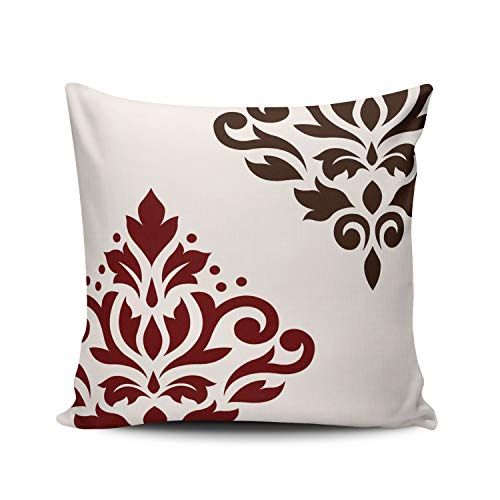 (DOUMIFA Home Throw Pillow Case Scroll Damask Art Red and Brown on White Square Decorative Pillowcase Cushion Cover Both Sides Same Colored Printing 22X22 inch (1-Pack))