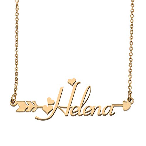 Aoloshow Customized Custom Name Necklace Personalized - Custom Helena Initial Name Arrow Horizontal Monogrammed Necklace Gift for Womens Girls (Arrow Helena Green)