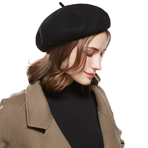 6071bd02c95 WELROG Wool French Beret Hat - Adjustable Casual Classic Solid Color Artist  Caps for Women Black