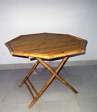 MGP Hexagon Bamboo Foldable Table, Handcrafted with Crack Resistent Solid Bamboo, 40'' d X 40'' l X 30'' h by MGP