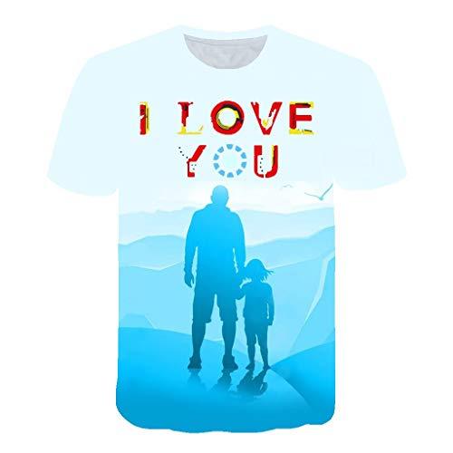 (Men's Summer 3D Printed Short Sleeves Fashion Comfort Blouse Top Blue)