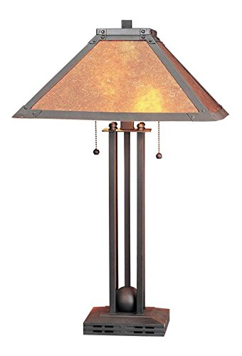 Matte Black 120 Watt 24.5in. Craftsman / Mission Metal Table Lamp with On/Off Switch and Square Mica Shade