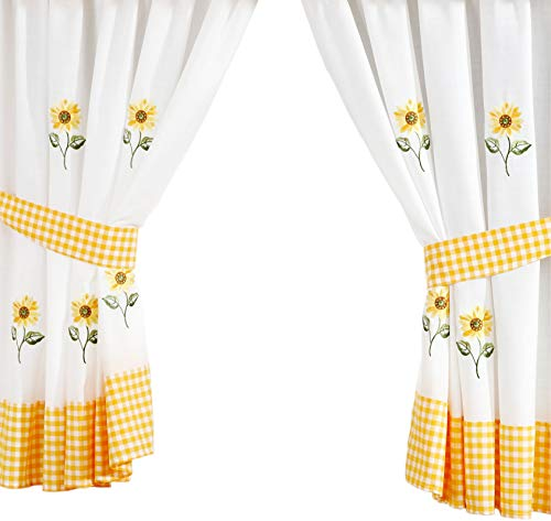 PCJ SUPPLIES SUNFLOWER YELLOW EMBROIDERED GINGHAM KITCHEN CURTAINS DRAPES 66