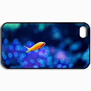 Fashion Unique Design Protective Cellphone Back Cover Case For iPhone 4 4S Case Fish Small Fish Yellow Aquarium Background Blurring Black