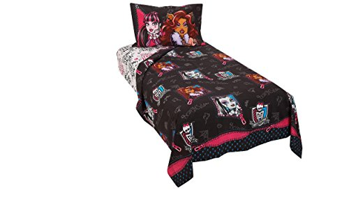 Monster High Fully Charged 3-Piece Twin Sheet Set - Black/White by Mattel