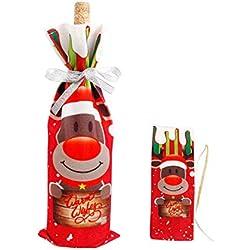 black-shop Christmas Wine Bottle Cover Table Decoration Hats Cap Santa Claus Xmas Party Gift,Christmas Xmoose