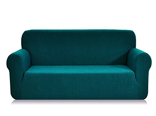 CHUN YI 1-Piece Jacquard High Stretch Sofa Slipcover, Polyester and Spandex 3 Seater Cushion Couch Cover Coat Slipcover, Furniture Protector Cover for Sofa and Couch (Sofa, Blue) (Sectional Teal Couch)