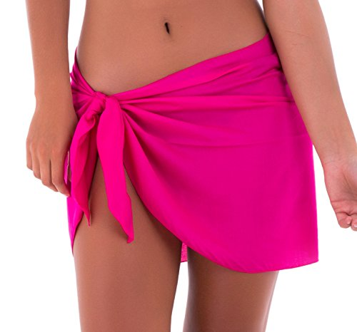 SHU-SHI Womens Mini Sarong Swimwear Bikini Cover Up Pareo Wrap Hot Pink