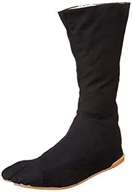 Marugo Tabi Boots Ninja Shoes Jikatabi (Outdoor tabi) MANNEN Nuitsuke (Sewn Rubber Outsole) 12 Hock Black Size: 7.5 Wide Women/6 Men