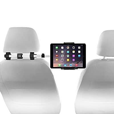 """Macally Car Headrest Mount Holder for Apple iPad Pro/Air/Mini, Tablets, Nintendo Switch, iPhone, Smartphones 4.5"""" to 10"""" Wide with Dual Adjustable Positions and 360° Rotation (HRMOUNTPRO)"""