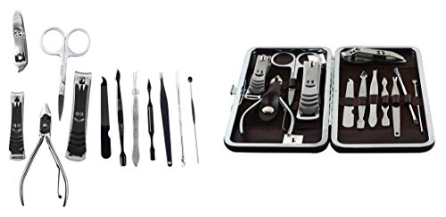 12-Pcs Gorgeous Popular Nail Clippers Trimmer Cuticle Grooming Tool Kit Manicure with Leather Case Set