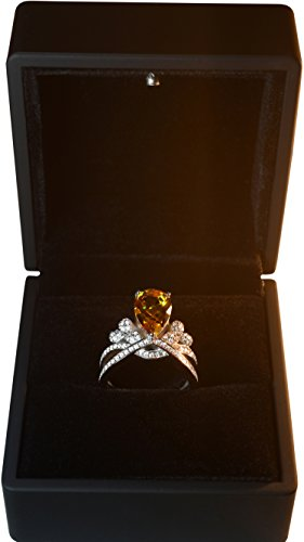 Zultanite gem ring alexandrite changing colors gem fine jewelry 925 sterling silver micro paved speccially designed classic pear stone shape fancy diamond style engagement ring (Rhodium, 8) by Tingle (Image #6)