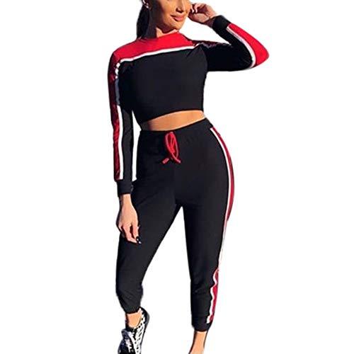 TOOPOOT 2Pcs Womens Tracksuit Sport Tops Pants Tracksuit Sweatshirt Sweat Suit Jogging Set by TOOPOOT-Coat
