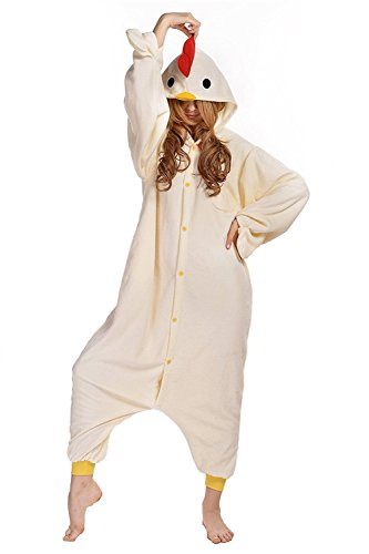 CANASOUR Polar Fleece Christmas Adult Anime Unisex Cosplay Onesie (Large, White Chicken)]()