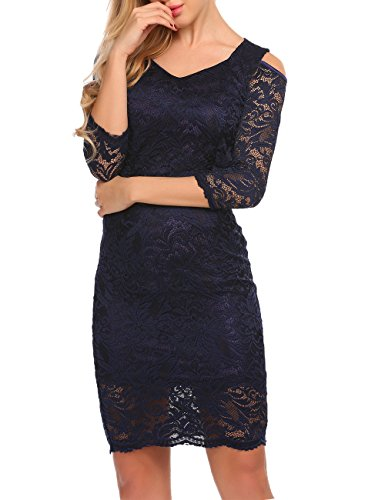 Lace Cocktail 3 Party Bodycon 4 Women's ACEVOG Dress Navy Dresses Blue Sleeve Pencil Wedding 5wZx48