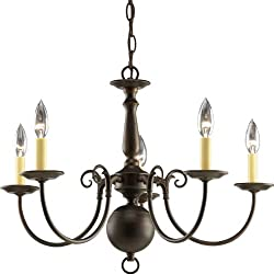 Progress Lighting P4346-20 5-Light Americana Chandelier with Delicate Arms and Decorative Center Column, Antique Bronze