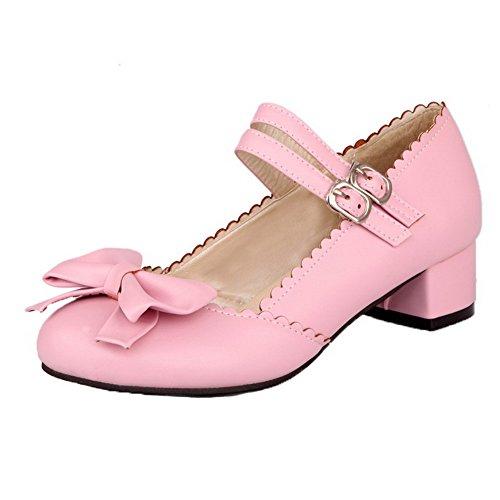 Amoonyfashion Vrouwen Stevige Pu Lage Hakken Gesloten Teen Gesp Pumps-schoenen Roze