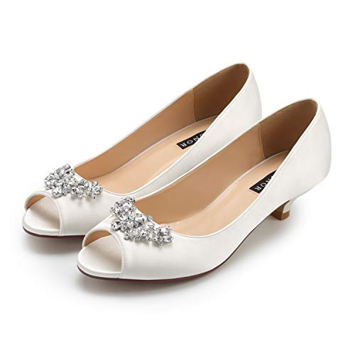 165cabcec ERIJUNOR E0111 Women Comfort Low Kitten Heels Rhinestones Peep Toe Wedding  Bridal Shoes Flats Ivory Size