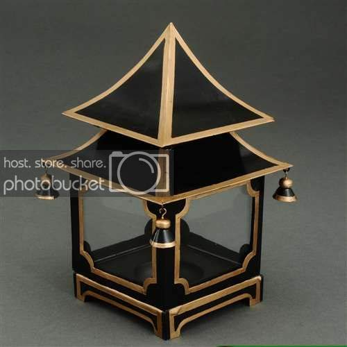 JM Candle Lanterns Decorative Lanterns Votive Candle Holders Black Tole Pagoda Candle Lantern