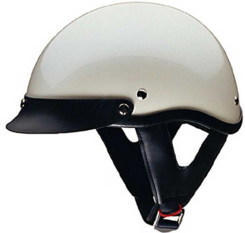 HCI Pearl White Motorcycle Half Helmet with Visor - ABS Shell 100-113 (White Motor)