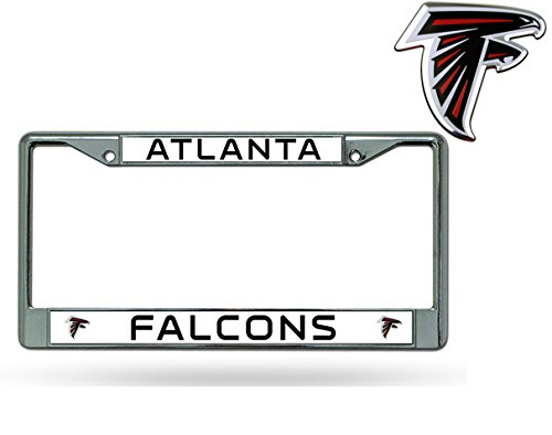 Official National Football League Fan Shop Licensed NFL Shop Authentic Chrome License Plate Frame and Colored Auto Emblem (Atalanta Falcons)