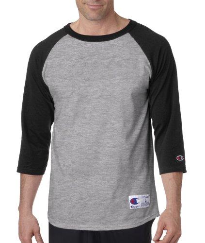 Champion 6.1 oz. Tagless Raglan Baseball T-Shirt - OXF GRY/SCARLET - S