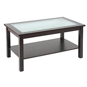 Bay Shore Collection Coffee Table with Glass Insert Top and Lower Shelf, Espresso