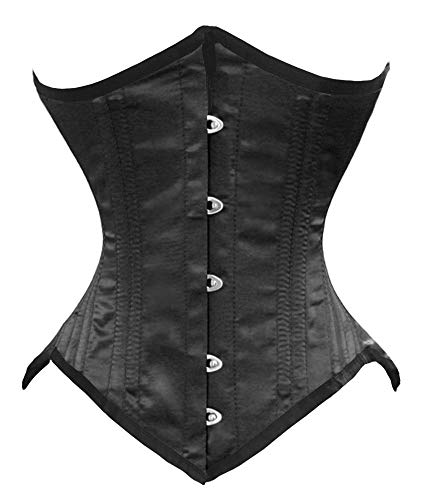 "Luvsecretlingerie 26 Double Steel Boned Waist Training Satin Underbust Corset,2XL (For waist 36""-37""),Black"