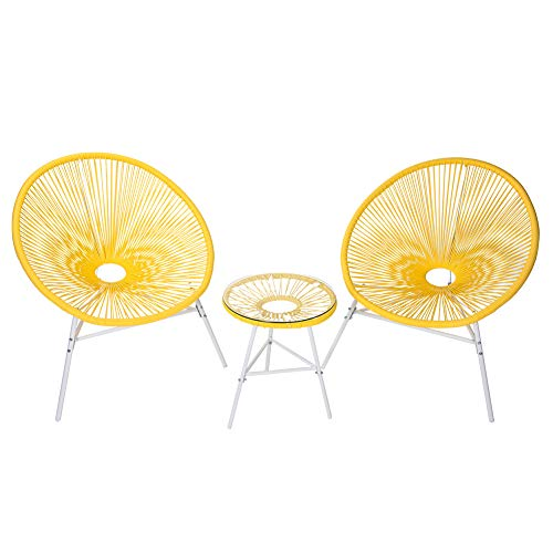 PatioPost 3 Piece Outdoor Acapulco Sun Weave Lounge Patio Chair with Top Glass Table, Yellow