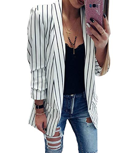 (Comaba Women's Slim Fit Long-Sleeve Cardigan Pinstripe Blazer Jacket Suits White S)
