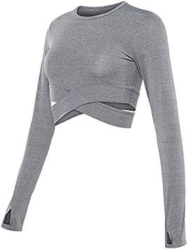 TNWMHD Mujeres sin Mangas Top de Manga Larga Fitness Crop Tops Ejercicio Entrenamiento compresión Camisa Deporte Mujeres Top Mujeres Yoga Camisas: Amazon.es: Deportes y aire libre