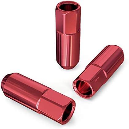 拡張チューナーレースレッドラグナット 20個 12x1.25スレッドサイズ オープンエンド 円錐テーパー ドングリシート 長さ2.4インチ 日産インフィニティスバルなど用