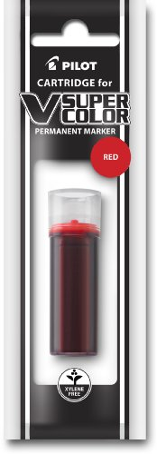 (Pilot V Super Color Permanent Marker Ink Refill Cartridge, Xylene-Free, Red Ink (43910))