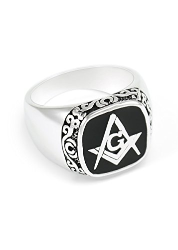 The Collegiate Standard Sterling Silver Masonic Ring with Square and Compass & Black Enamel Size 8