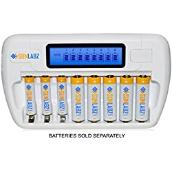 SunLabz Smart Rechargeable Battery Charger - AA AAA NiMH NiCD Batteries - 8 Bay/Slot