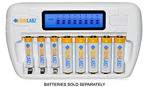 SunLabz Smart Rechargeable Battery Charger - AA AAA NiMH NiCD Batteries - 8 Bay/Slot - Rechargeable Aaa Nicd Battery