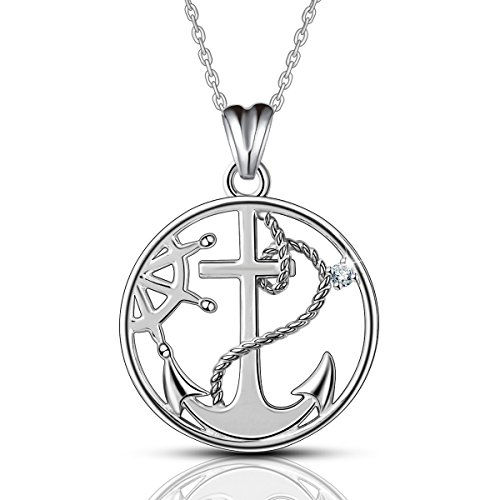 AEONSLOVE 925 Sterling Silver Ship Anchor Nautical Rope Round Charm Pendant Necklace, 18'' Chain, Gifts for Women