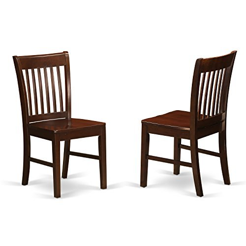 Parsons Chair Wood Finish Chair - East West Furniture NFC-MAH-W Kitchen/Dining Chair Set with Wood Seat, Mahogany Finish, Set of 2