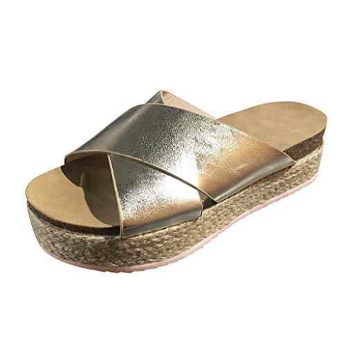Aunimeifly Women's Thick-Bottom Slippers Leopard Cross Espadrilles Platform Open Toe Shoes Gold