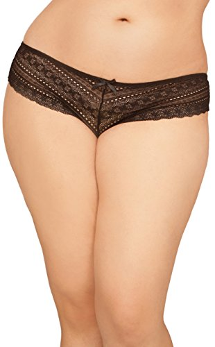 Panties Doll Lace (Seven Til Midnight Women's Plus-Size Tangled Lace Panty with Lace-Up Detail, Black, 1X/2X)