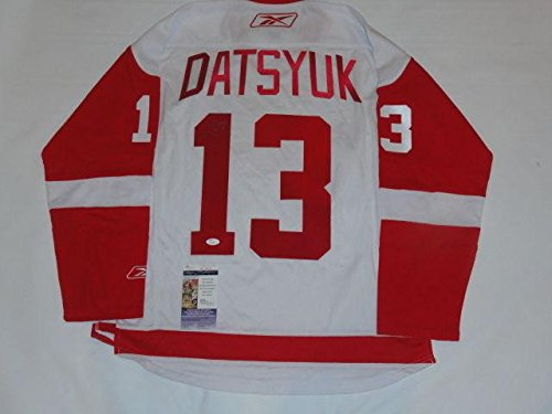 Datsyuk Signed Detroit Red Wings - Pavel Datsyuk Signed Detroit Red Wings 2008 Stanley Cup Road Jersey Coa - JSA Certified - Autographed NHL Jerseys