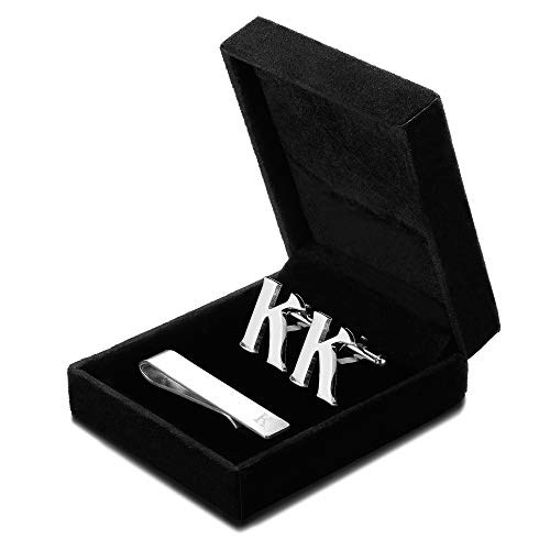 FIBO STEEL Initial Cufflinks and Tie Clip Set for Men Alphabet Letter Wedding Business Gifts Set with Box K
